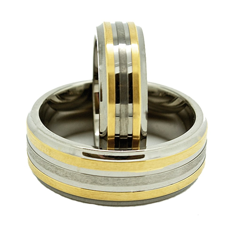 Matching 6mm & 8mm Titanium Wedding Rings with 2 Golden Colored Lines (See listing for sizes) - New Wedding Rings