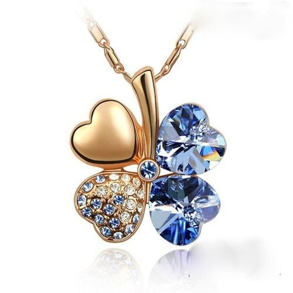 Sparkling Blue Colored Heart Shaped Clover Charm Necklace 208 - New Wedding Rings