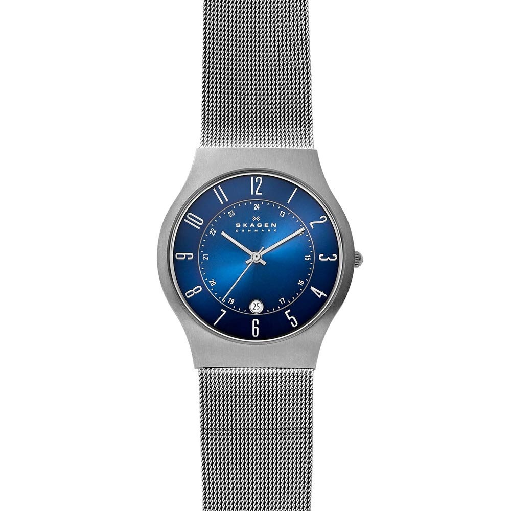 Solid Skagen Men's Quartz Titanium and Stainless Steel Mesh Casual Watch, Color: Grey (Model: 233XLTTN) - New Wedding Rings