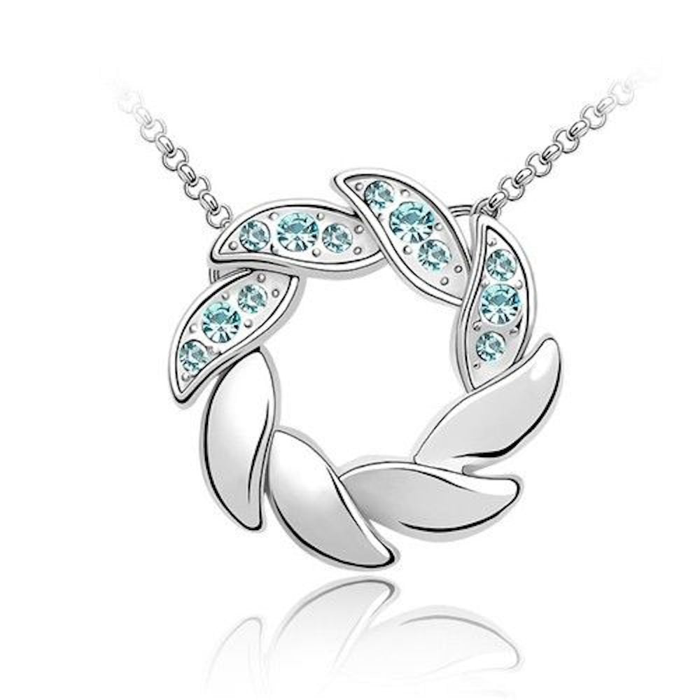 Sparkling Light Blue Wreath Charm Pendant Necklace 169 - New Wedding Rings