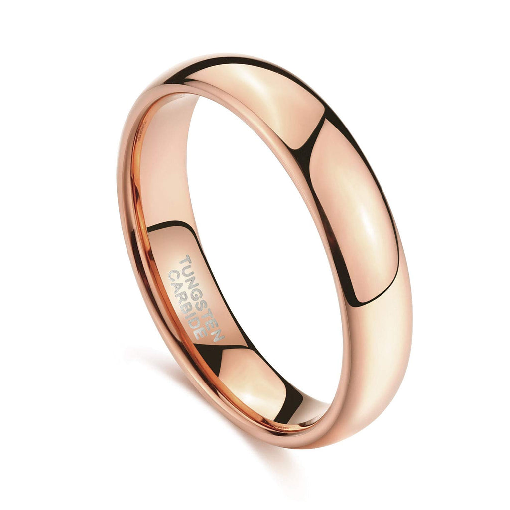 4mm  Solid Rose Gold Tungsten Wedding Band Ring for Men Women High Polish Comfort Fit 4-14 - New Wedding Rings
