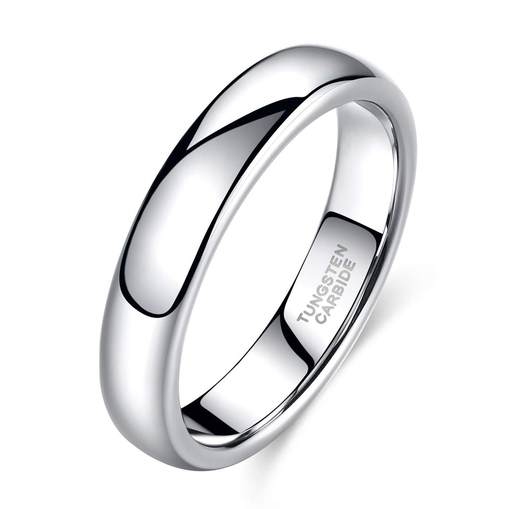 4mm Tungsten Wedding Band Ring Men Women Plain Dome High Polished Comfort Fit Size  4-14 - New Wedding Rings