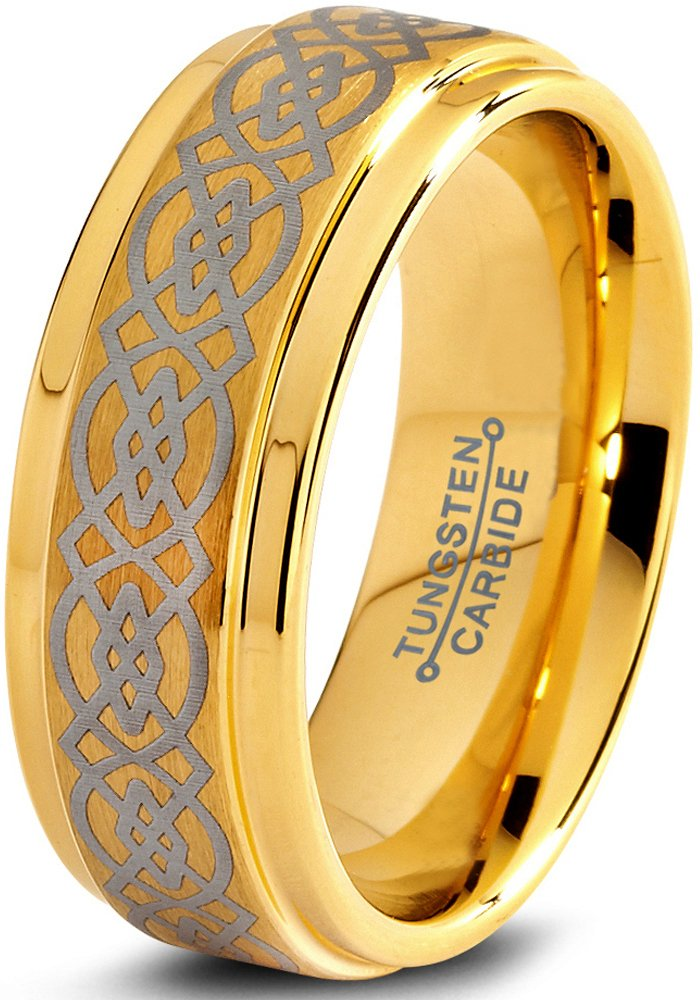New Wedding Ring Tungsten Wedding Band Ring 8mm for Men Women Comfort Fit Celtic Knot 18K Yellow Gold Plated Step Beveled Edge Brushed Polished - New Wedding Rings