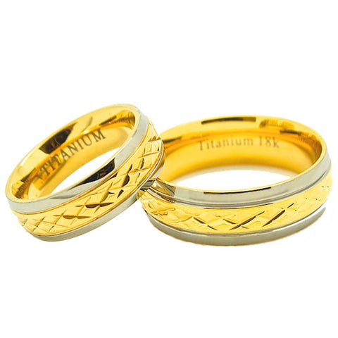 Matching 6mm & 7mm Golden Colored Middle Facet Titanium Wedding Rings (See listing for sizes) - New Wedding Rings
