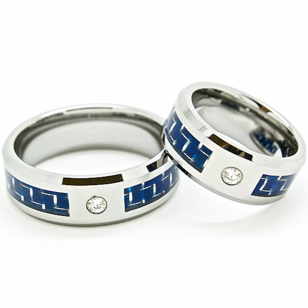 Matching 8mm Blue Carbon Fiber Inlay Clear Solitaire Tungsten Wedding Rings Set (Check for Sizes) - New Wedding Rings