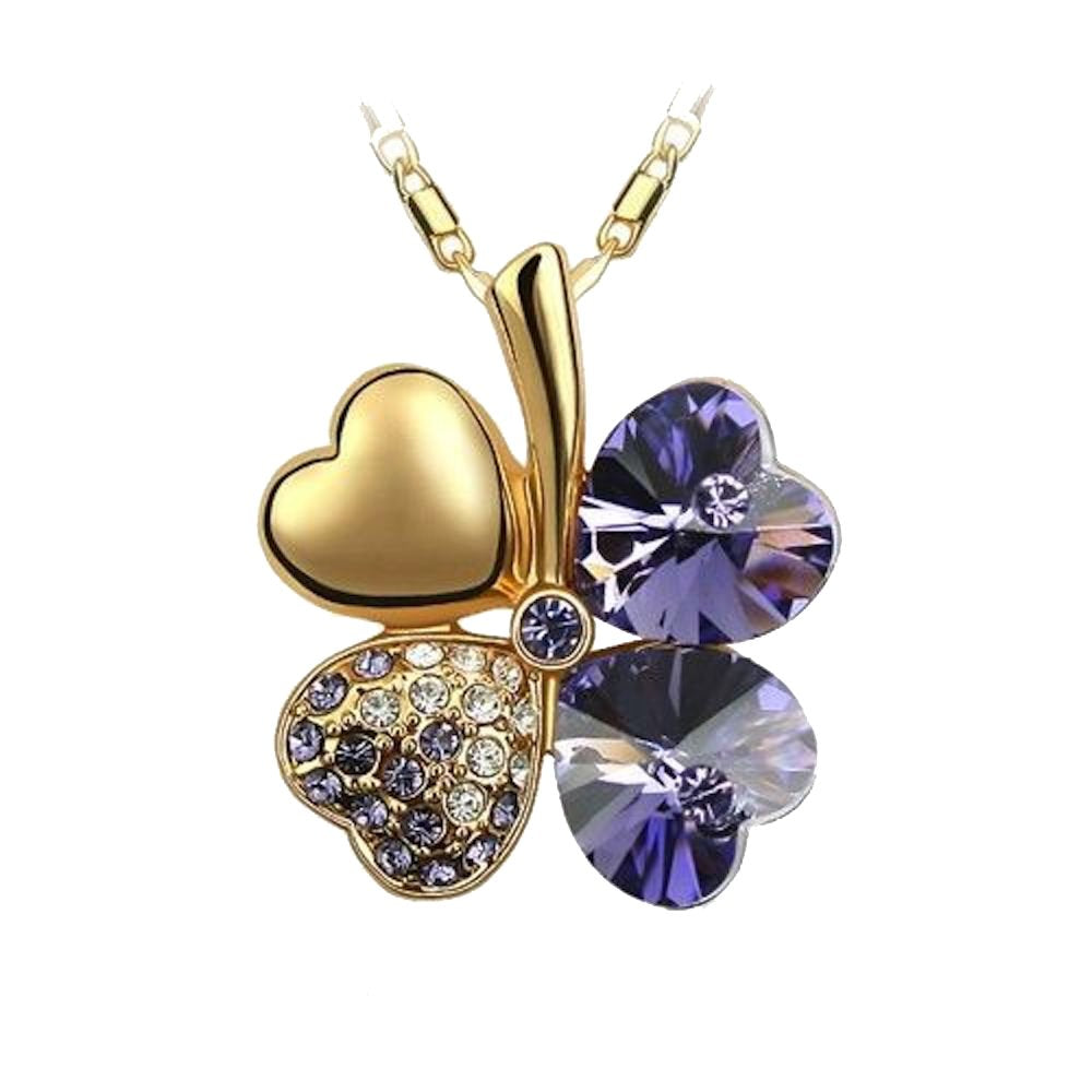 Sparkling Dark Purple Colored Heart Shaped Clover Charm Necklace 209 - New Wedding Rings