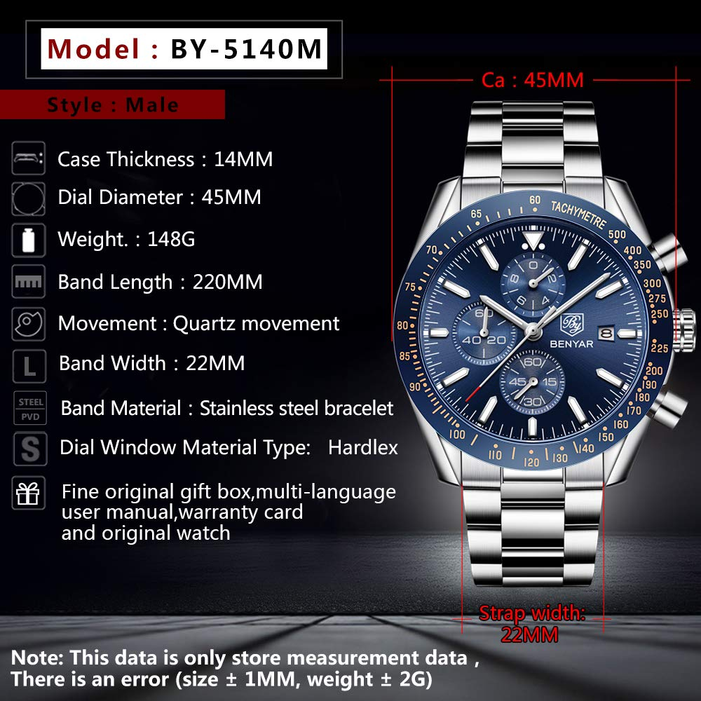 BIONIC BENYAR - Stylish Wrist Watch for Men, Genuine Stainless Steel Strap Watches, Perfect Quartz Movement, Waterproof and Scratch Resistant, Analog Chronograph Business Watches, Best Mens Gift. - New Wedding Rings