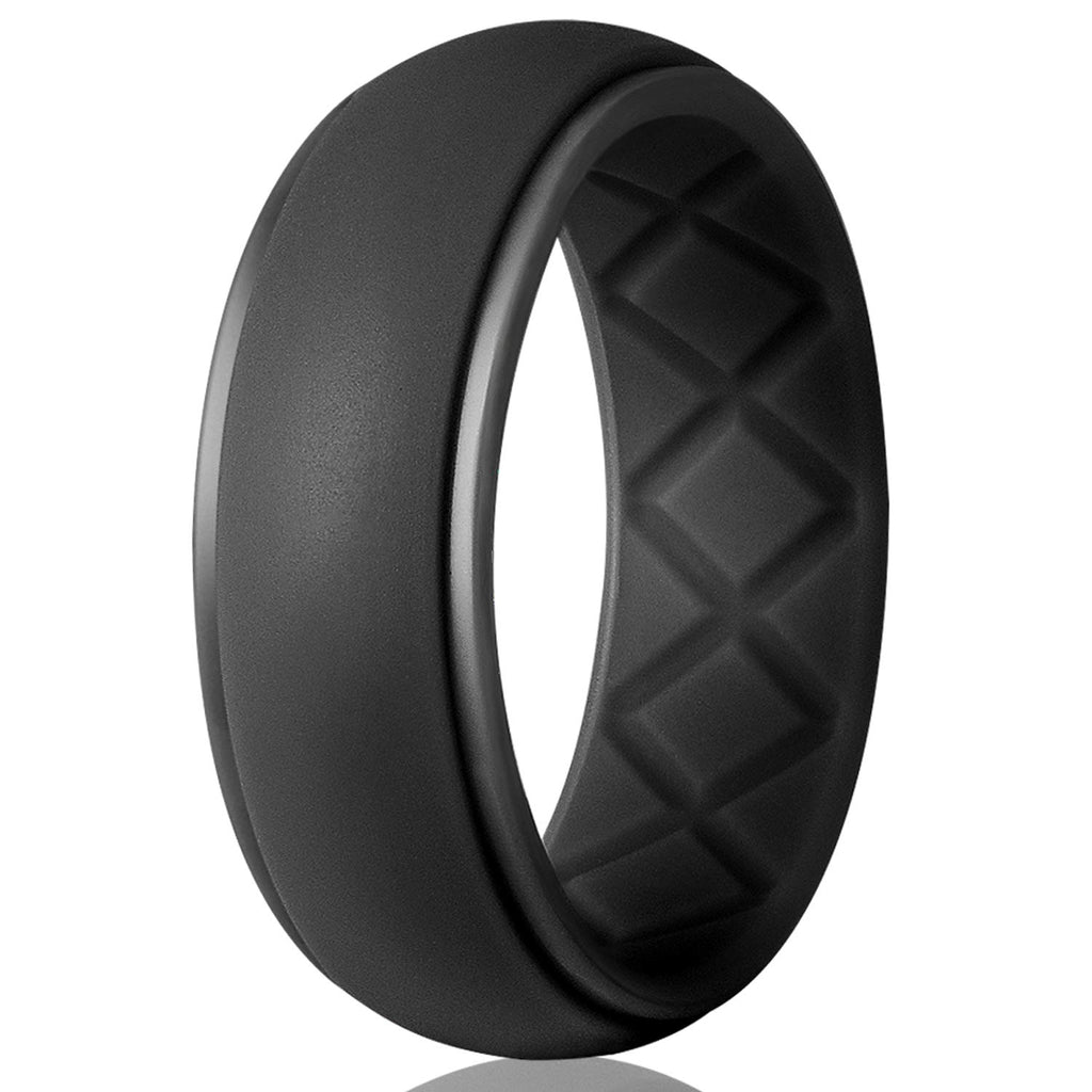 Premium Silicone Wedding Ring for Men, Particularly Breathable Mens' Rubber Wedding Bands, Size 8 9 10 11 12 13, for Athletes Crossfit Workout - New Wedding Rings