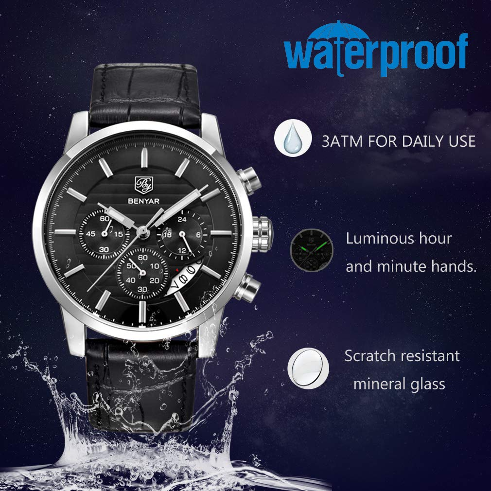 BIONIC Chronograph Waterproof Watches Business and Sport Design Brown Leather Band Strap Wrist Watch for Men - New Wedding Rings