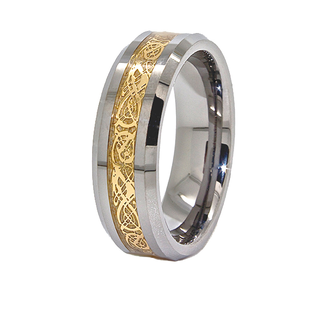 Designer Dragon 8mm Gold Celtic Dragon Tungsten Carbide Mens Wedding Band Ring Comfort Fit size 4-17 - New Wedding Rings