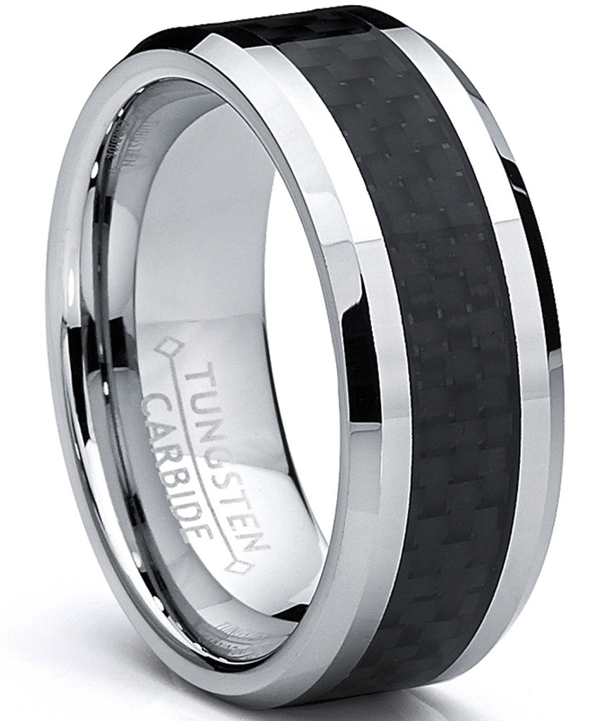 New Wedding Ring 8MM Men's Black Carbon Tungsten Carbide Ring Wedding Band - New Wedding Rings