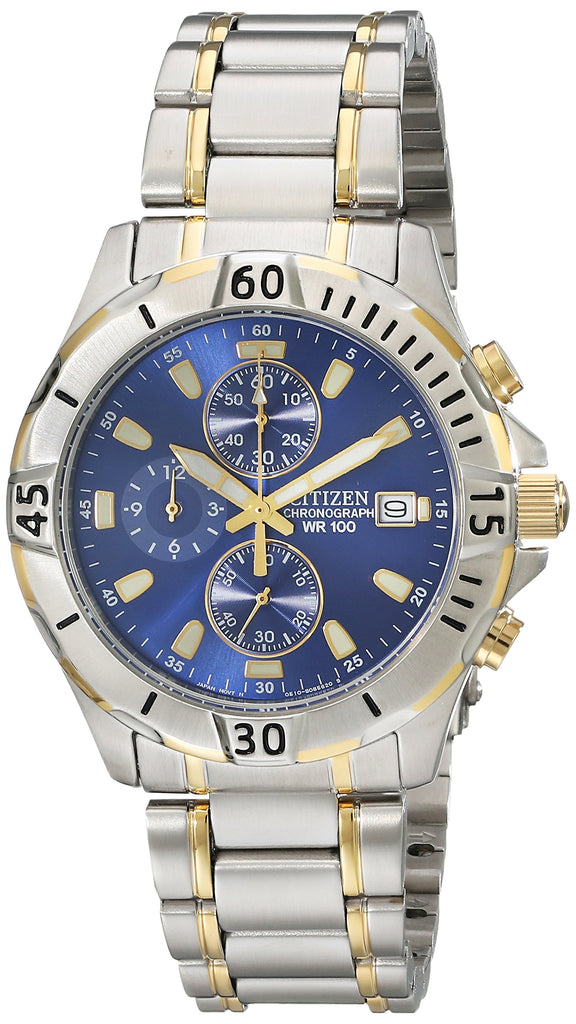 Premium high Quality Mens Watch Citizen Men's Quartz Two-Tone Stainless Steel Chronograph Watch with Date, AN3394-59L - New Wedding Rings