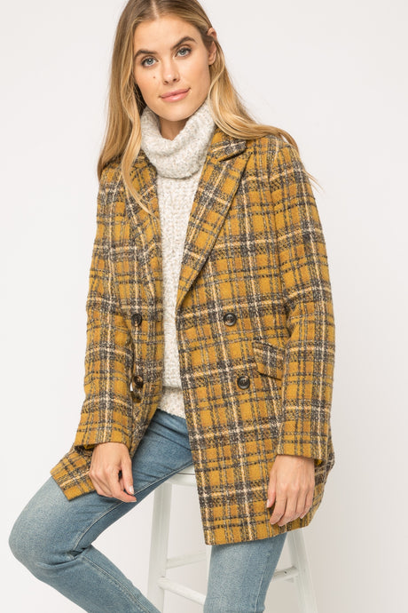 Mustard Mix Plaid Coat