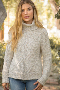 Ivory/Taupe Turtleneck Pullover Sweater