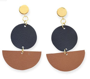 Ink+Alloy Black and Camel Leather Earrings
