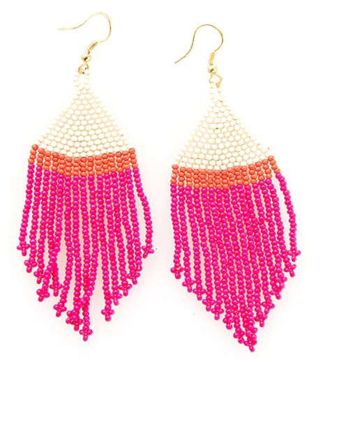Ink+ Alloy Bead Fringe Earrings