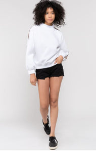 Turtleneck Pullover with Athletic Stripe