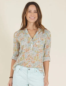 Carve Designs Gauze Top - Cloud Poppy