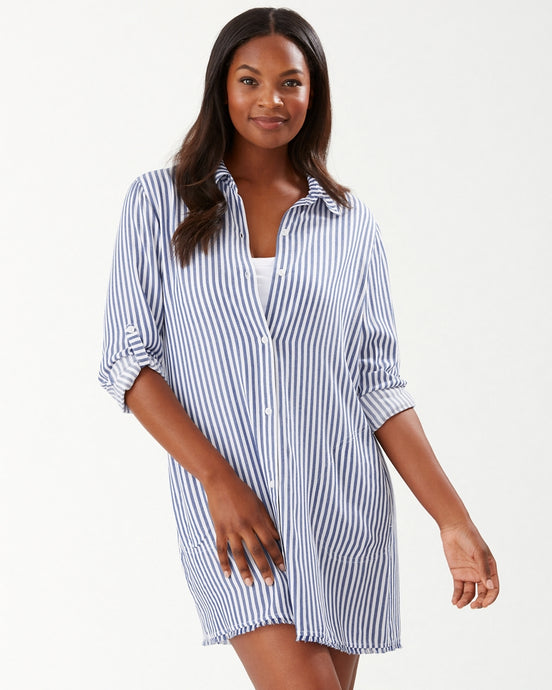 Tommy Bahama Chambray Striped Boyfriend Shirt