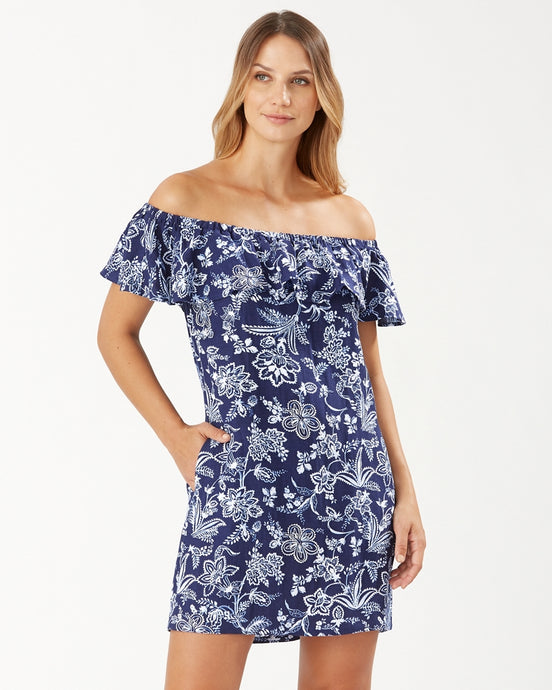 Tommy Bahama Delft Floral Off-The-Shoulder Ruffle Dress - Mare Navy