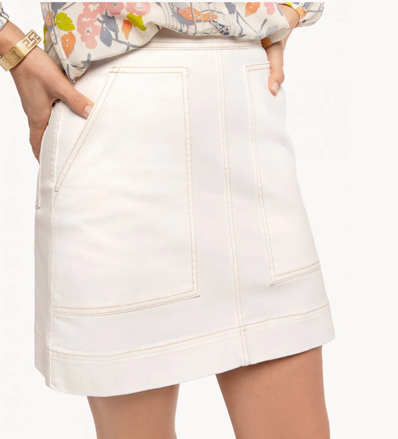 Spartina Isla Denim Skirt - Pearl White