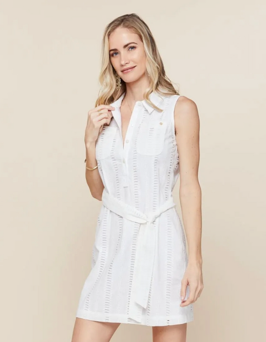 Spartina Eliza Eyelet Shirt Dress - Pearl White