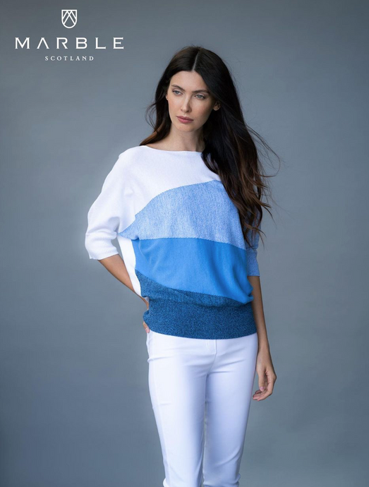 Marble Horizontal Pattern 3 Tone Blue Sweater