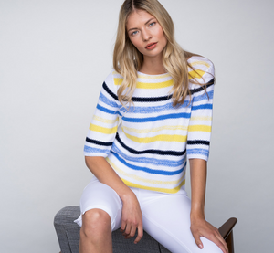 Marble Striped Blue/Yellow 3/4 Sleeve Sweater