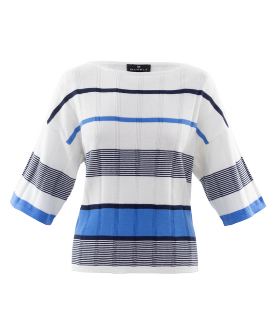 Marble Striped Blue/Navy Short Sleeve Sweater