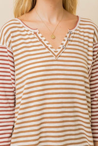 Hem And Thread Button Detailed Striped Dolman Sleeve Top