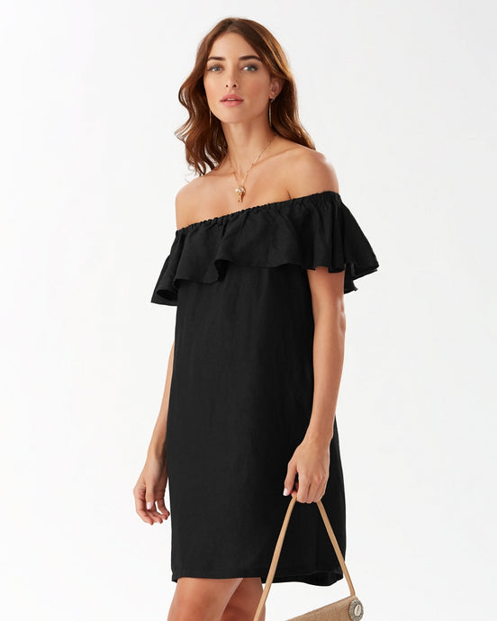 Tommy Bahama Linen Dye Off-The-Shoulder Dress - Black
