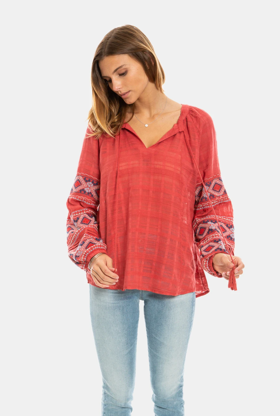 Dylan Tala Embroidered Red Shirt