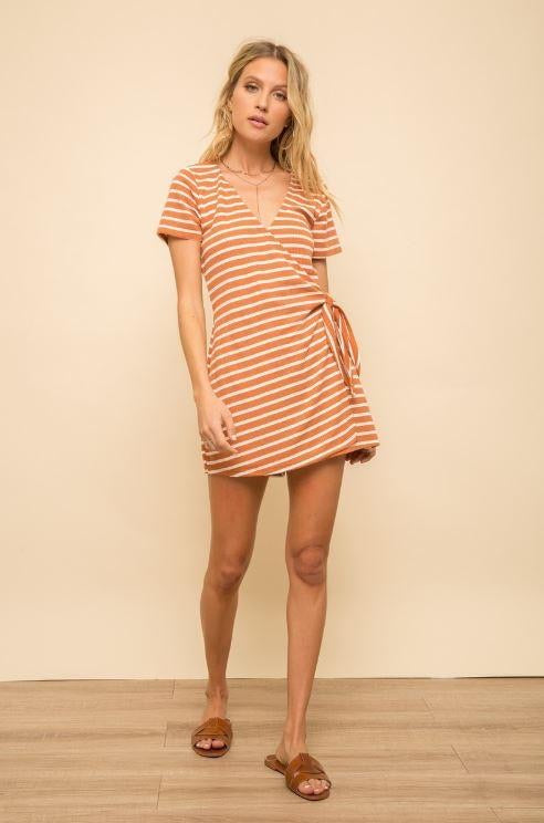 Hem and Thread Stripe Wrap Romper