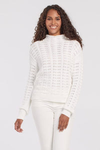 Combed Cotton Mock Neck Sweater