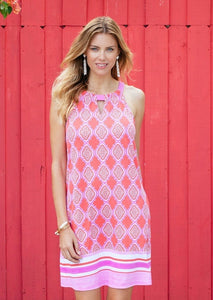 Cabana Life Coral Keyhole Dress