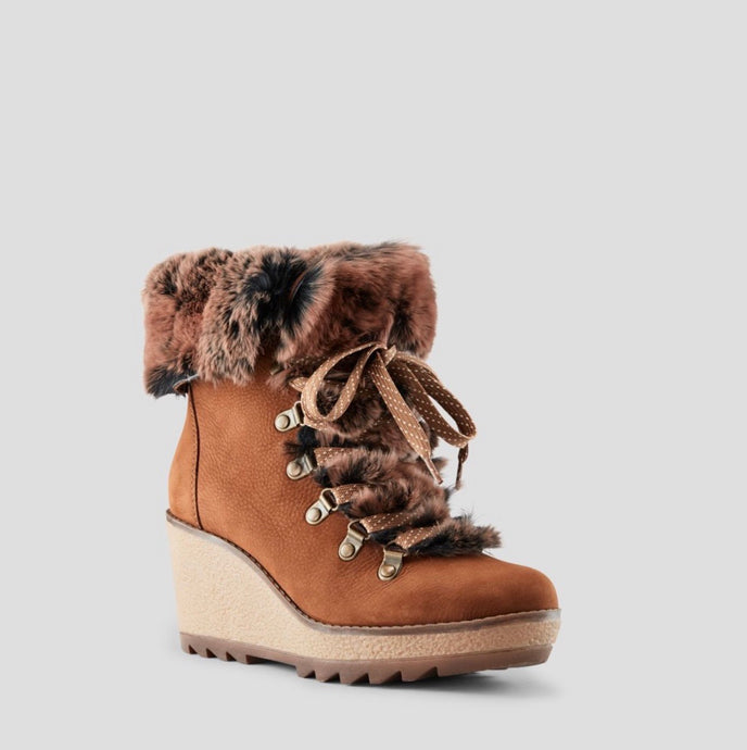 Penelope Suede Wedge Boot - Chestnut