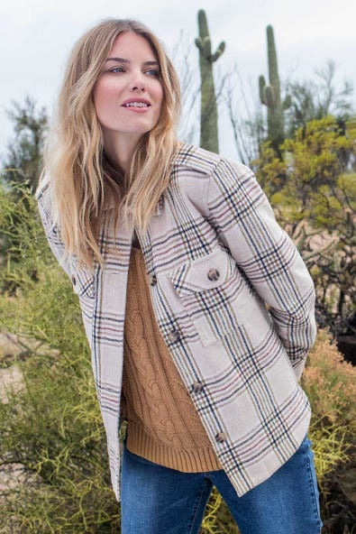 Tribal Plaid Military Jacket