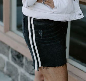Pistola — Black Denim Skirt with Cream Stripe