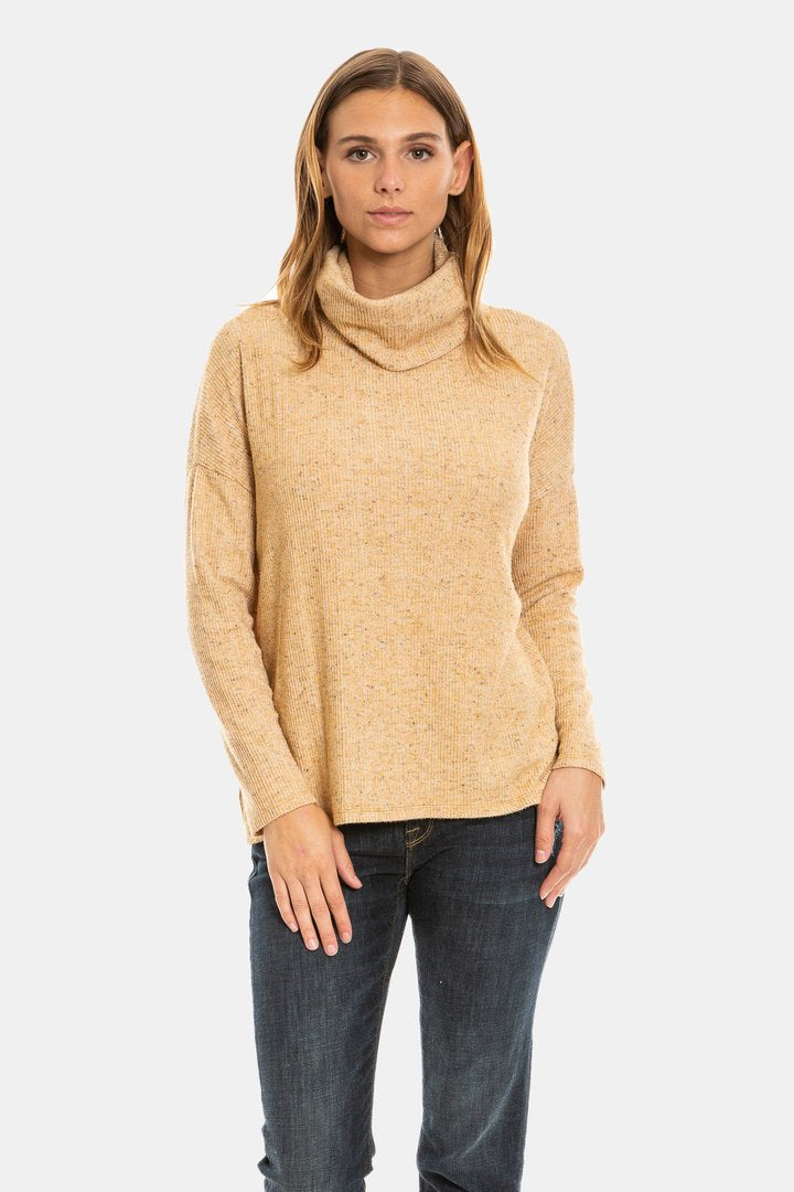 Dylan Honey Fuzzy Flecked Fleece Cowl Neck