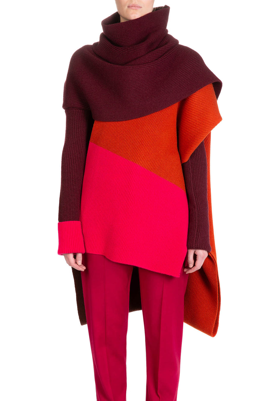 NOA KNIT CAPE Claret, Amber & French Pink