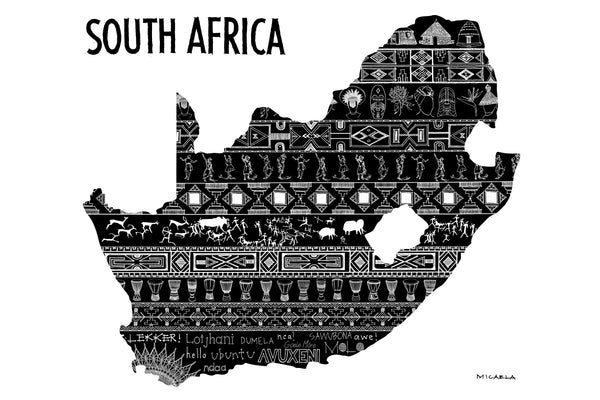 South Africa Pattern (Black and White) by Micaela Cloete