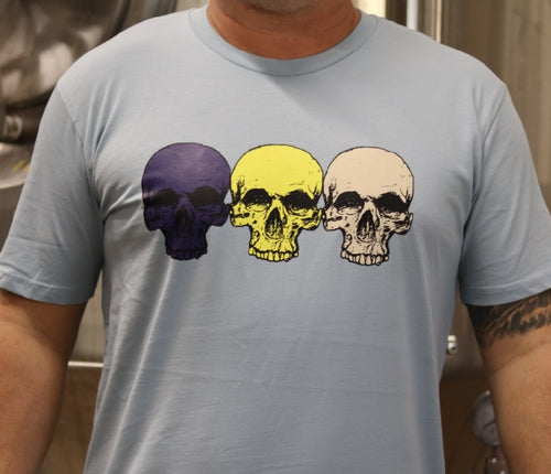 Pale Blue 3 Skulls (Navy/Lemon/Vanilla) T-shirt