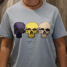 Load image into Gallery viewer, Pale Blue 3 Skulls (Navy/Lemon/Vanilla) T-shirt