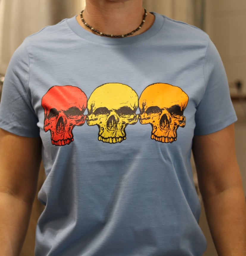 Ladies' Carolina Blue 3 Skulls T-shirt