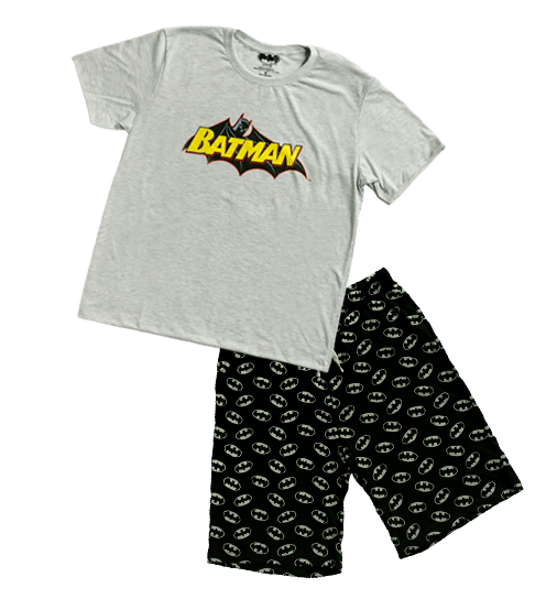 PIJAMA BATMAN CABALLERO POLO + SHORT - BATMAN ORIGINAL - PAPAYAPERU.COM