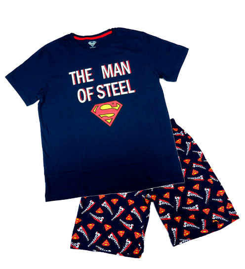 PIJAMA SUPERMAN CABALLERO POLO + SHORT - SUPERMAN ORIGINAL - PAPAYAPERU.COM