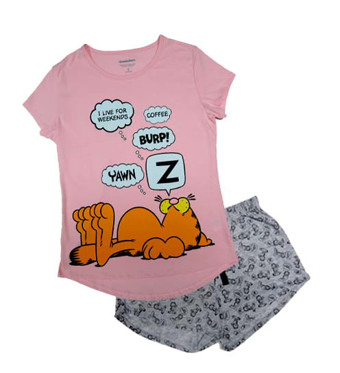 PIJAMA DAMA POLO + SHORT GARFIELD - GARFIELD ORIGINAL - PAPAYAPERU.COM