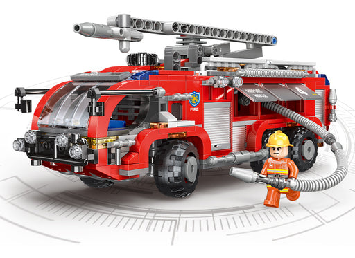 Rush to runway fires with the 767 piece LEGO® compatible Airport Fire Engine set from Bricklicious with free delivery worldwide