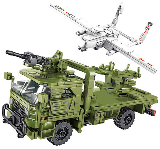 Monitor battlefields from high altitudes using the 422 piece LEGO® compatible Surveillance Drone and Launch Truck from Bricklicious with free delivery worldwide