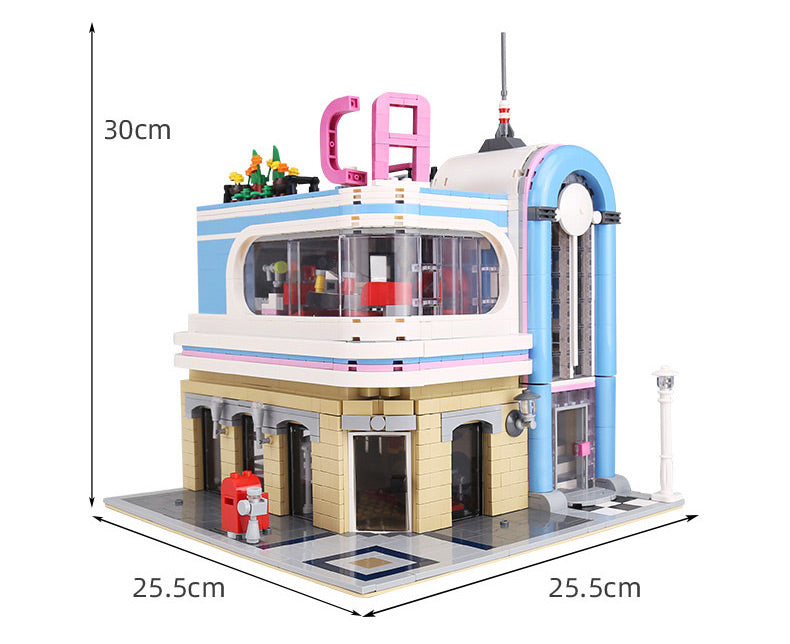 Keep your people fed at the 2038 piece LEGO® compatible California Diner Restaurant set from Bricklicious with free delivery worldwide